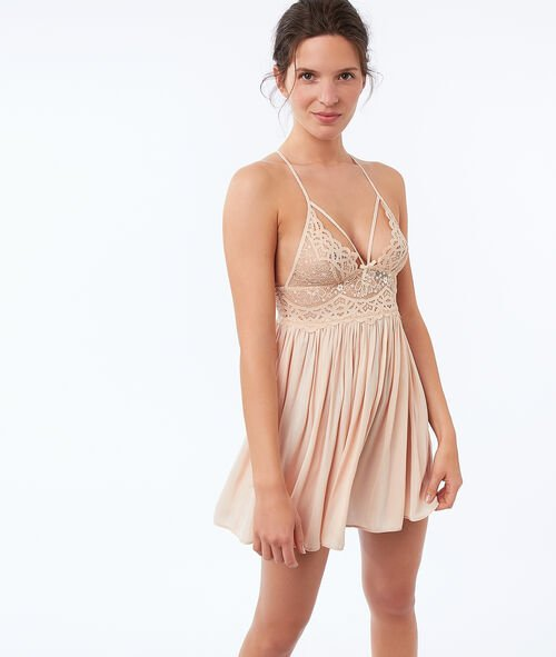 Lace nightdress with ties