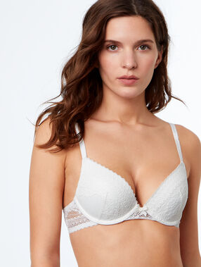 Lace push-up bra off-white.