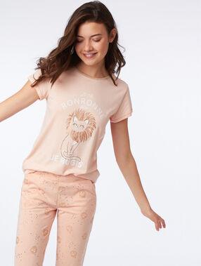 Camiseta manga corta estampado felino melocotón.