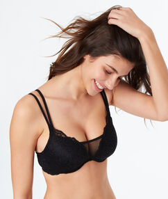 Lace and mesh padded bra black.