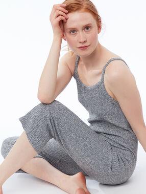 Mottled knit onesie gray.