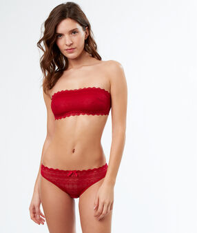 Lace strapless bra red.