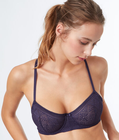 Demi-cup lace bra with racer back