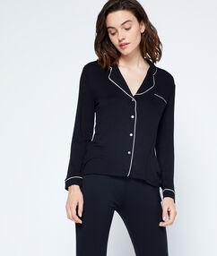 Two-tone pyjama shirt black.