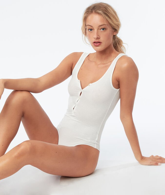 Sleeveless bodysuit with open back ecru.