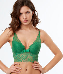 Lace triangle push-up bra green nile.