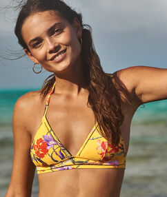 Triangle bikini top printed yellow.