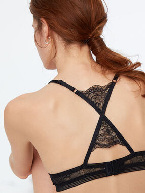 Racer-back push-up bra black.