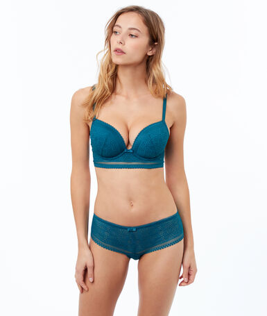 Bra no. 5 - classic padded lace bra with tulle basque duck.