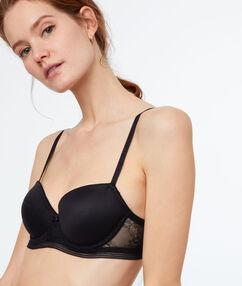 Bi-material padded bra black.