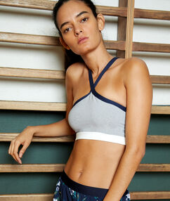 Sports bra, removable pads - medium support grey.