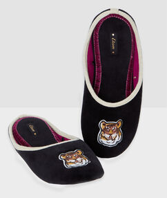 Tiger velvet slippers black.