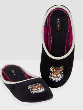 Tiger-embroidered mule slippers black.