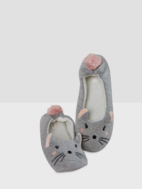 Mouse slippers gray.