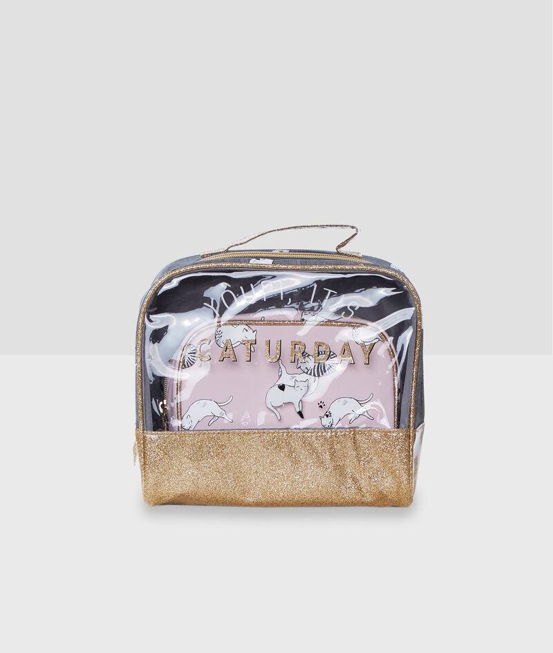 Cat print wash bags;${refinementColor}