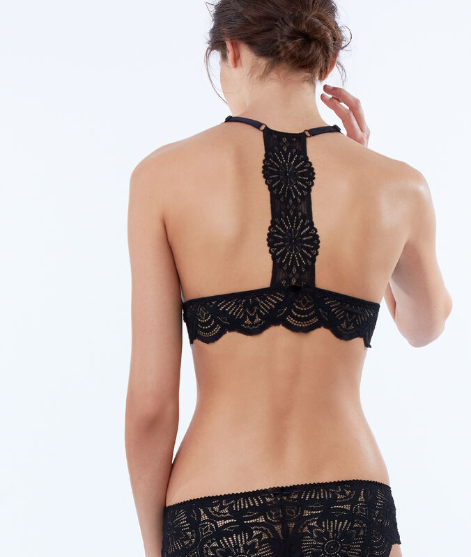 Lace triangle bra, rounded bra black.