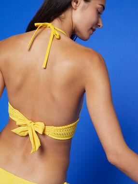 Haut de maillot triangle, basque brodée jaune acidule.