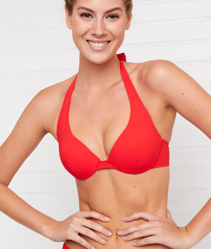 Haut de maillot de bain push-up rouge.