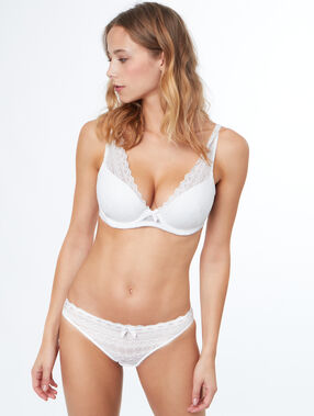 Lace padded triangle bra, d cup white.