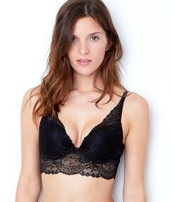 Lace triangle push up bra black.