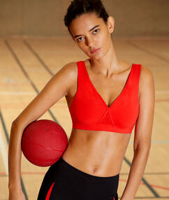 Sports bra, removable pads & crossed back - medium support red.