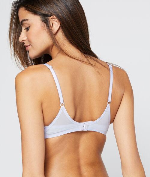 Microfibre padded bra, tulle edges