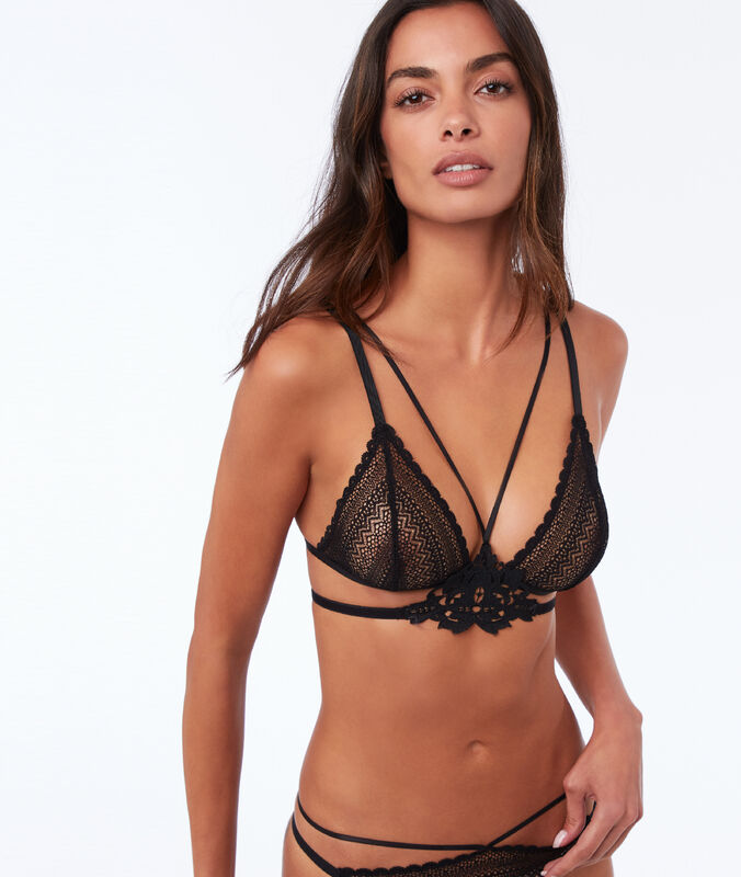 Lace triangle bra with laces  black.