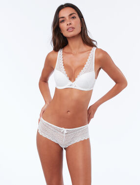 Lace triangle push up white.