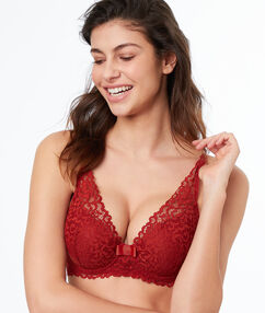 Lace padded triangle bra red.