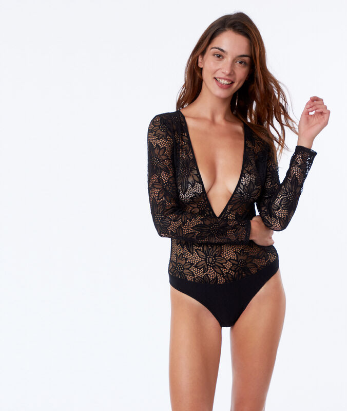 Lace body with deep neckline black.