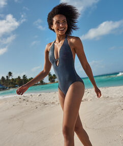 One piece swimsuit night blue/iridescent.