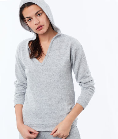 Heathered homewear sweatshirt gray.
