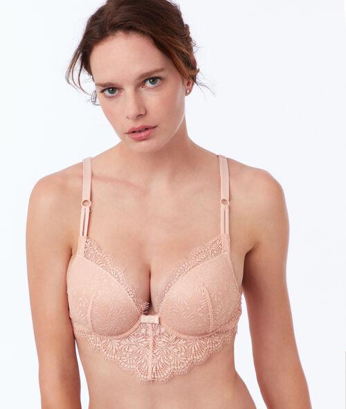Bra no. 5 - classic padded lace bra with V-shape basque