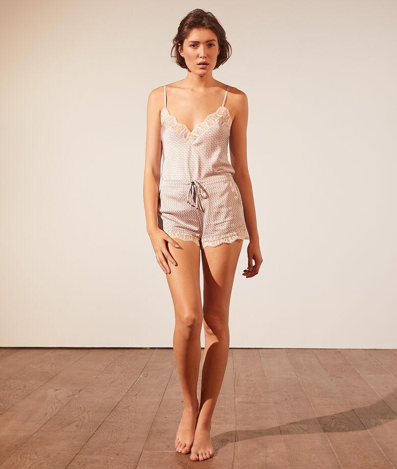 Low-cut satiny lace camisole;${refinementColor}