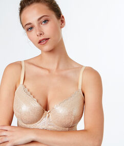 Padded demi cup bra gold.