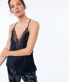 Top en satin bleu.