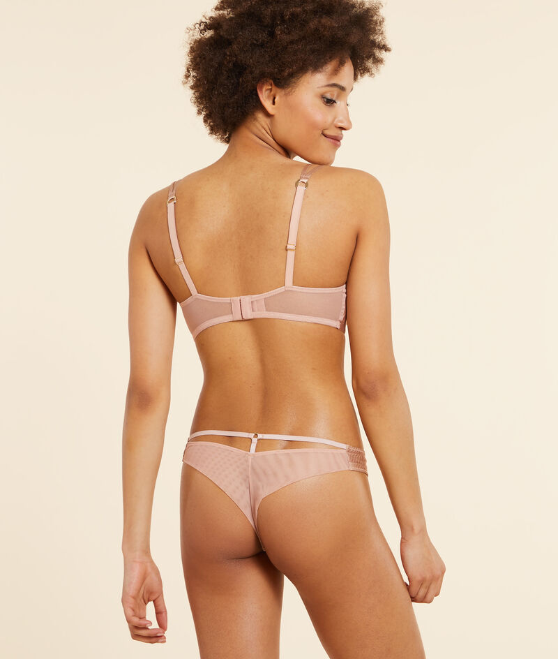 Silk and tulle tanga;${refinementColor}
