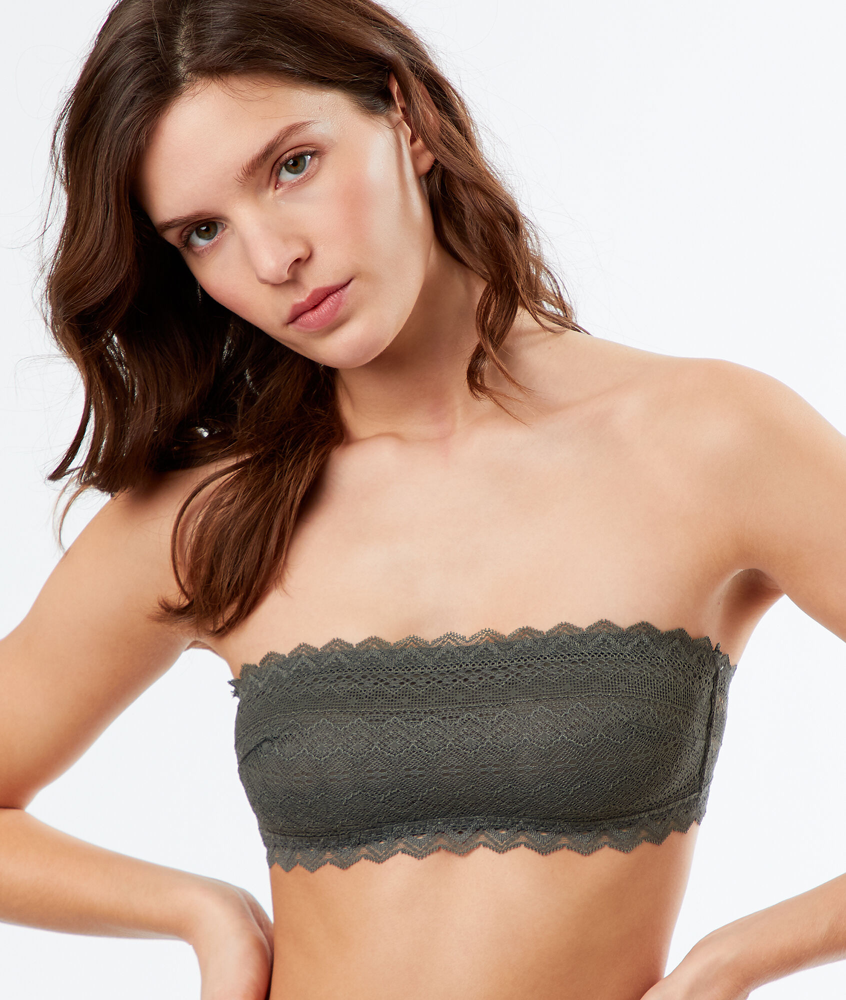 4cff59cb6852 Lace strapless bra - ICONE - KHAKI - Etam