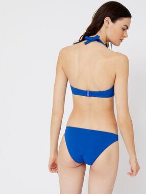 Haut de maillot de bain corbeille, laçages bleu.