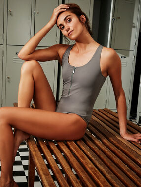 Crossed back swimsuit khaki.