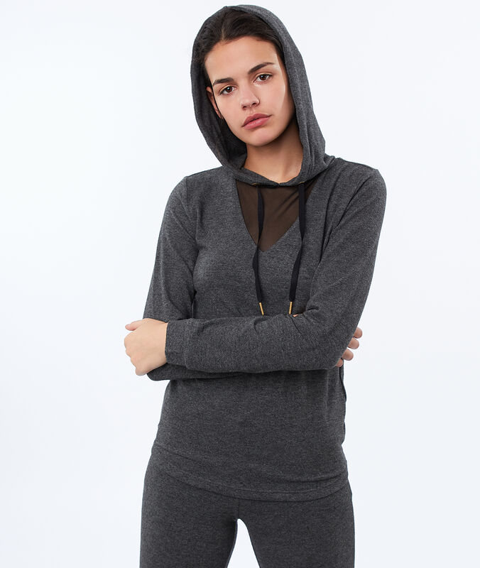 Homewear hooded top and fishnet neckline gray.