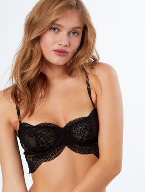 Lace demi-cup bra with decorative graduated underband black.