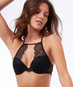 Lace triangle push-up bra black.