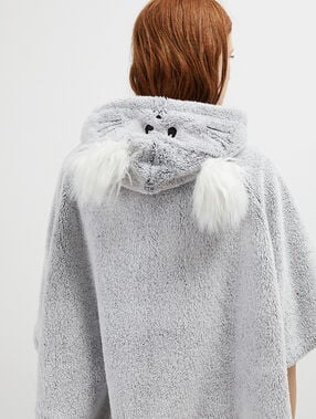 Faux fur poncho with pompoms gray.