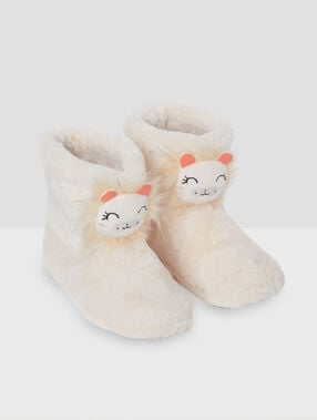 Chaussons bottines lion beige.
