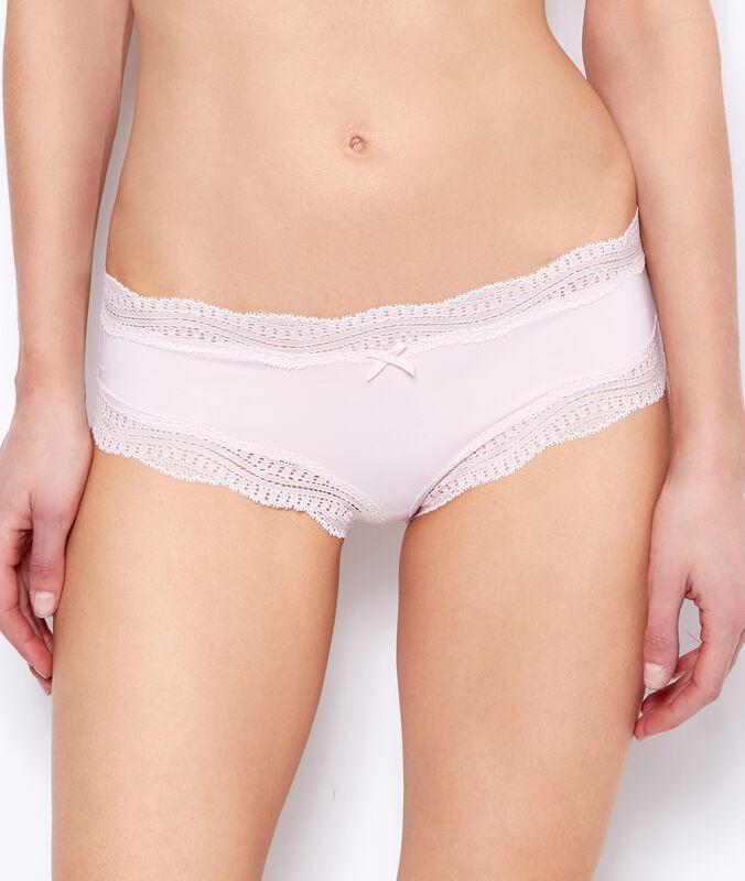 Ornate lace-edged shorts powder pink.