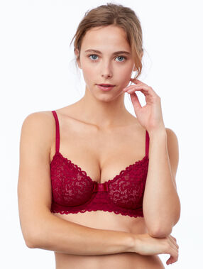Lace bra, no padding plum.