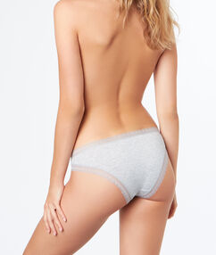 Soft, lace-edged, modal briefs gray.