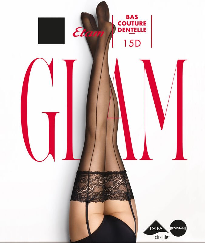 Stockings with lace and back seam black.