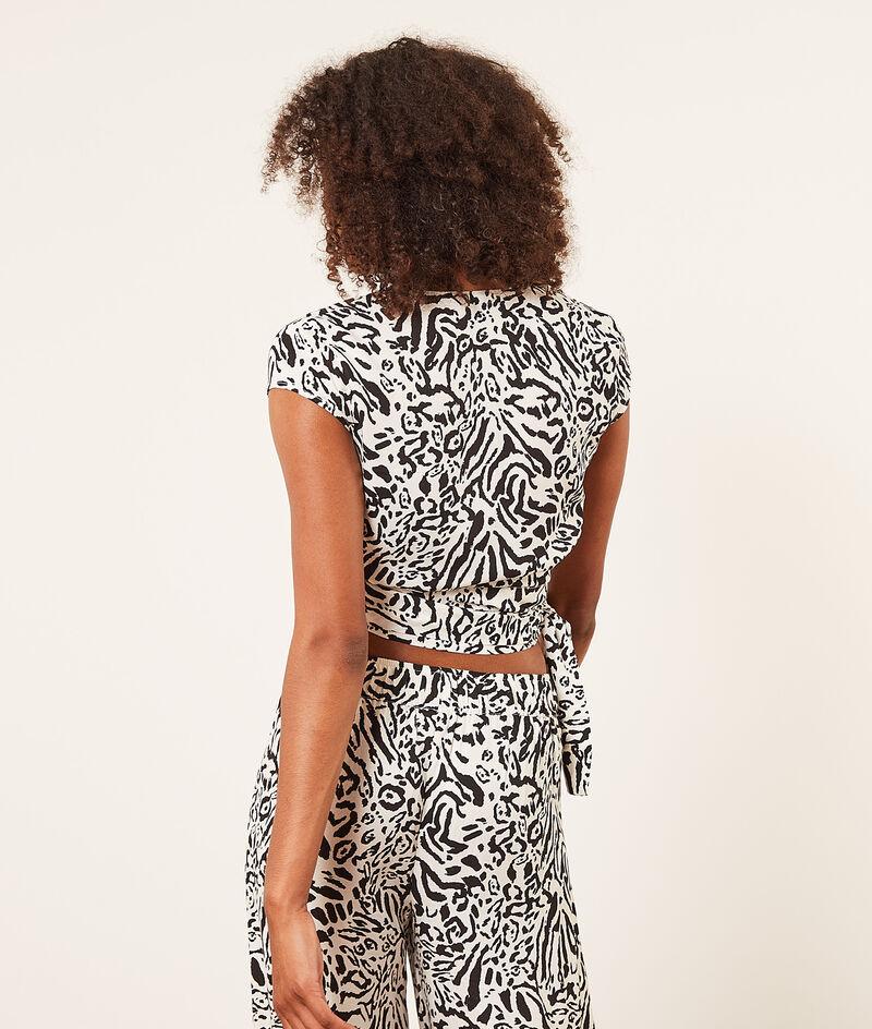 Short-sleeved wrap top;${refinementColor}